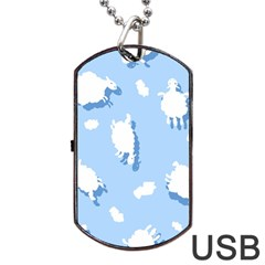 Vector Sheep Clouds Background Dog Tag Usb Flash (two Sides)