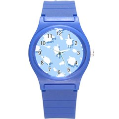 Vector Sheep Clouds Background Round Plastic Sport Watch (S)