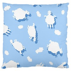 Vector Sheep Clouds Background Large Cushion Case (two Sides)