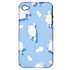 Vector Sheep Clouds Background Apple Iphone 4/4s Hardshell Case (pc+silicone)