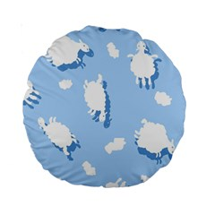 Vector Sheep Clouds Background Standard 15  Premium Round Cushions
