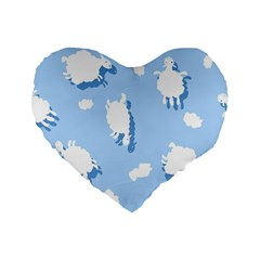 Vector Sheep Clouds Background Standard 16  Premium Heart Shape Cushions
