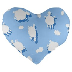 Vector Sheep Clouds Background Large 19  Premium Heart Shape Cushions