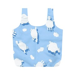 Vector Sheep Clouds Background Full Print Recycle Bags (M)