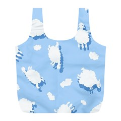 Vector Sheep Clouds Background Full Print Recycle Bags (L)