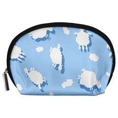 Vector Sheep Clouds Background Accessory Pouches (large)