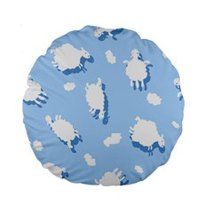 Vector Sheep Clouds Background Standard 15  Premium Flano Round Cushions