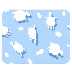 Vector Sheep Clouds Background Double Sided Flano Blanket (Medium)
