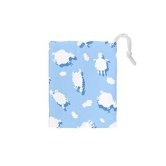 Vector Sheep Clouds Background Drawstring Pouches (XS)