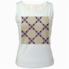 Pattern Background Vector Seamless Women s White Tank Top