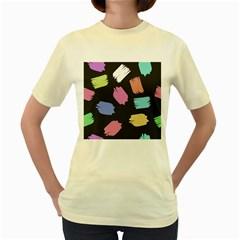 Many Colors Pattern Seamless Women s Yellow T Shirt
