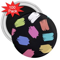 Many Colors Pattern Seamless 3  Magnets (100 Pack)