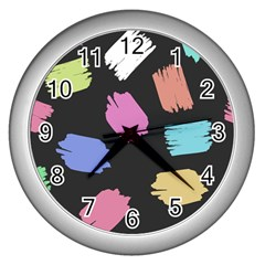 Many Colors Pattern Seamless Wall Clocks (silver)