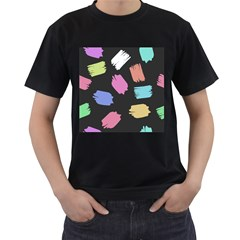 Many Colors Pattern Seamless Men s T Shirt (black) (two Sided)