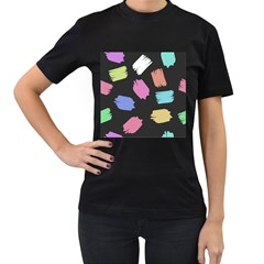 Many Colors Pattern Seamless Women s T Shirt (black) (two Sided)