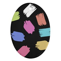 Many Colors Pattern Seamless Oval Ornament (Two Sides)