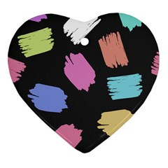 Many Colors Pattern Seamless Heart Ornament (two Sides)