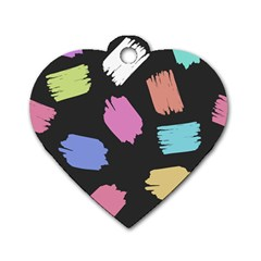 Many Colors Pattern Seamless Dog Tag Heart (one Side)