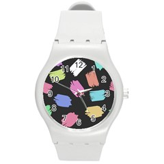 Many Colors Pattern Seamless Round Plastic Sport Watch (m)