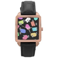 Many Colors Pattern Seamless Rose Gold Leather Watch