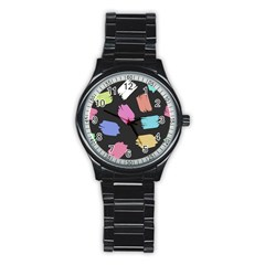Many Colors Pattern Seamless Stainless Steel Round Watch