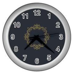 Monogram Vector Logo Round Wall Clocks (silver)