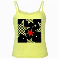 Stars Seamless Pattern Background Yellow Spaghetti Tank