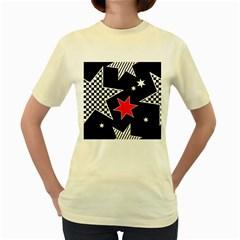 Stars Seamless Pattern Background Women s Yellow T-Shirt