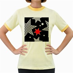 Stars Seamless Pattern Background Women s Fitted Ringer T-Shirts