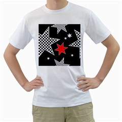 Stars Seamless Pattern Background Men s T Shirt (white) (two Sided)