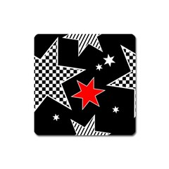 Stars Seamless Pattern Background Square Magnet
