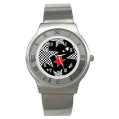 Stars Seamless Pattern Background Stainless Steel Watch