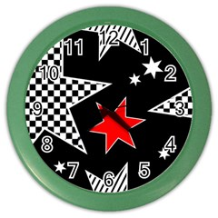 Stars Seamless Pattern Background Color Wall Clocks