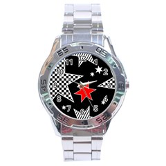 Stars Seamless Pattern Background Stainless Steel Analogue Watch