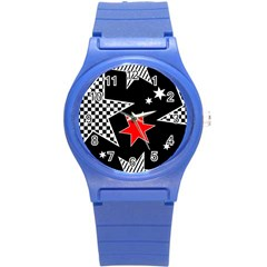 Stars Seamless Pattern Background Round Plastic Sport Watch (s)