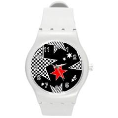 Stars Seamless Pattern Background Round Plastic Sport Watch (M)