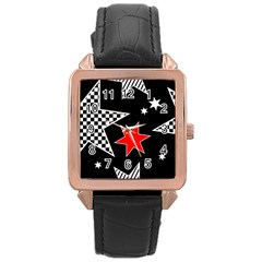Stars Seamless Pattern Background Rose Gold Leather Watch