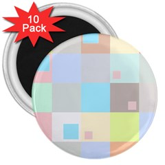 Pastel Diamonds Background 3  Magnets (10 Pack)