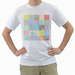Pastel Diamonds Background Men s T-Shirt (White) (Two Sided)