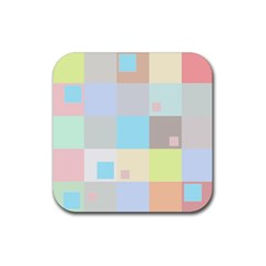Pastel Diamonds Background Rubber Square Coaster (4 pack)