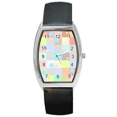 Pastel Diamonds Background Barrel Style Metal Watch