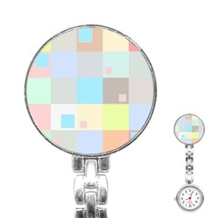 Pastel Diamonds Background Stainless Steel Nurses Watch