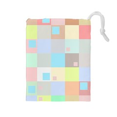 Pastel Diamonds Background Drawstring Pouches (Large)
