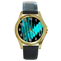 Wave Pattern Vector Design Round Gold Metal Watch