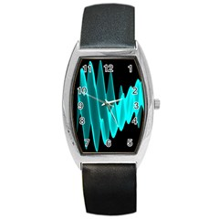 Wave Pattern Vector Design Barrel Style Metal Watch