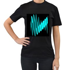 Wave Pattern Vector Design Women s T-Shirt (Black) (Two Sided)