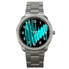 Wave Pattern Vector Design Sport Metal Watch
