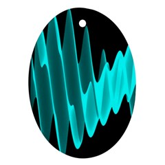 Wave Pattern Vector Design Oval Ornament (Two Sides)