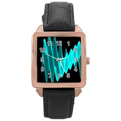 Wave Pattern Vector Design Rose Gold Leather Watch