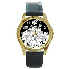 Mandala Calming Coloring Page Round Gold Metal Watch